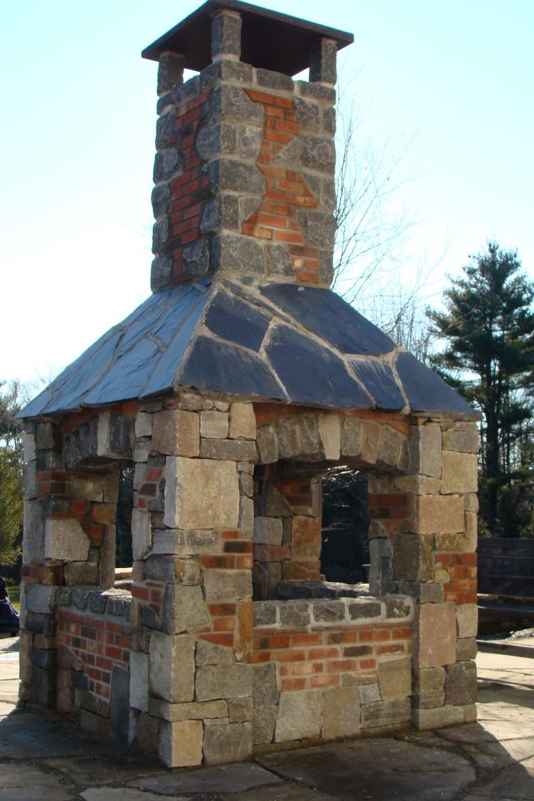 Custom Four-Sided Wood Fireplace