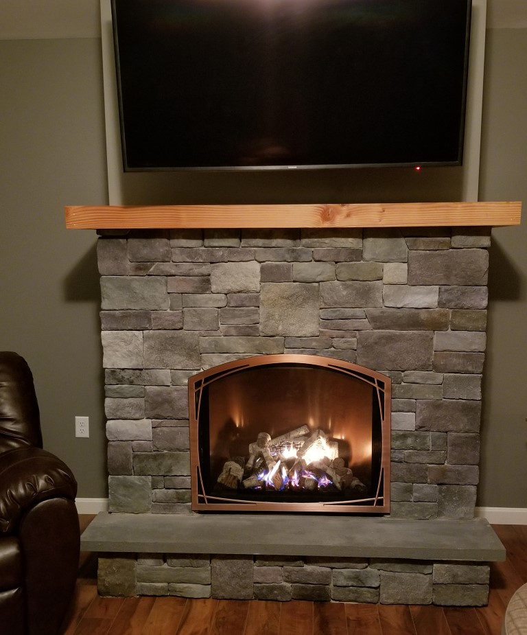Granville Stone Hearth Gas Fireplace Mendota Maine Veneer